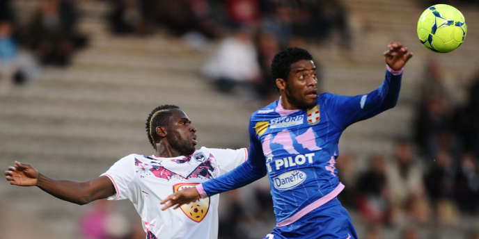 Cheick Diabaté, attaquant de Bordeaux, et Betao, défenseur d'Evian, le 26 mai.