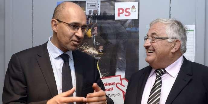 Harlem Désir et Bernard Barral, candidat PS à Villeneuve-sur-Lot.