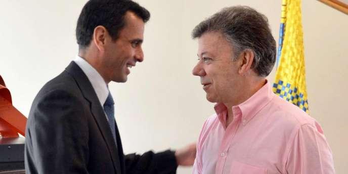 La rencontre entre le président colombien Juan Manuel  Santos et le leader de l'opposition vénézuélienne Henrique Capriles, le 29 mai à Bogota, a déclenché la colère du successeur d'Hugo Chavez, Nicolas Maduro.