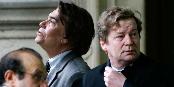 Bernard Tapie et Maurice Lantourne (à droite), en octobre 2005.