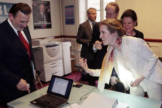 Jean-François Legaret et Nathalie Kosciusko-Morizet, deux des candidats à la primaire UMP à Paris lors de la présentation du système de vote électronique, le 29 mai.