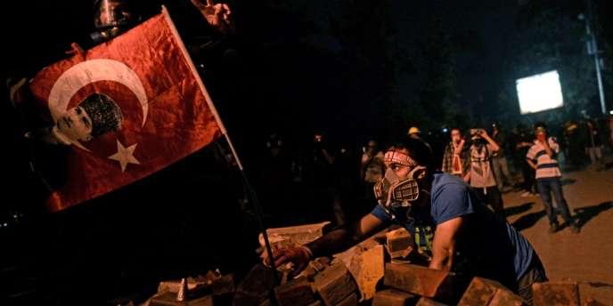 Des manifestants brandissent le drapeau turc orné de la photographie d'Atatürk, à Istanbul, le 4 juin 2013.