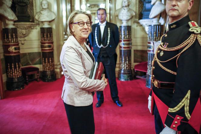 Marylise Lebranchu, ministre de la réforme de l'Etat, de la décentralisation et de la fonction publique lors de l'examen du projet de loi de décentralisation au Sénat, à Paris, jeudi 6 juin 2013.