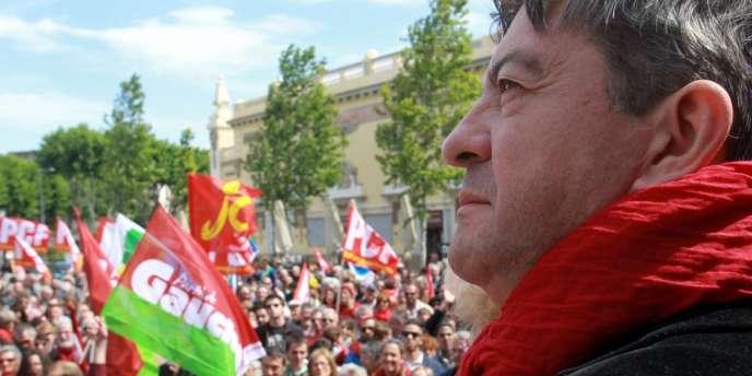 Jean-Luc Mélenchon, coprésident du Parti de gauche, lors d'une manifestation contre l'austérité à Perpignan, le 2juin2013.