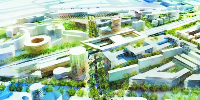 Vue générale du futur quartier d'affaires Grand Arenas, à Nice.
