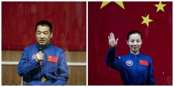 Les astronautes Nie Haisheng et Wang Yaping en conférence de presse avant le lancement de Shenzhou, le 10 juin.
