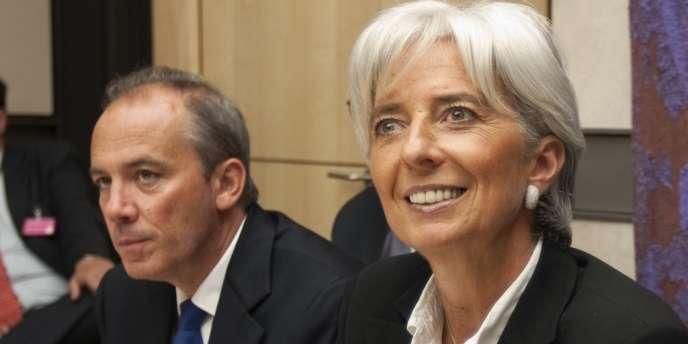 Christine Lagarde et son ancien directeur de cabinet, Stéphane Richard, en 2008 à Paris.