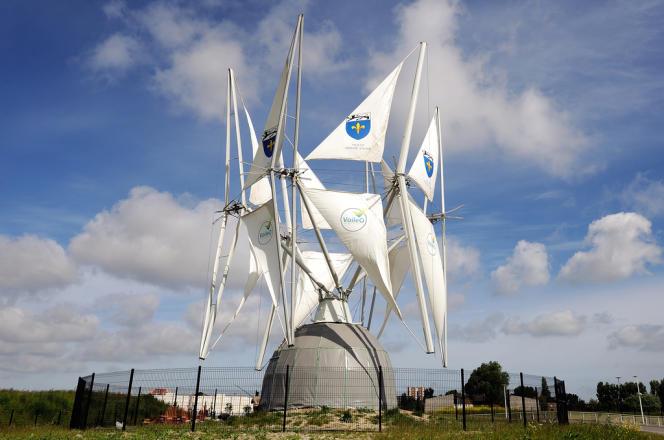 Le premier prototype d'éolienne à voile, inauguré en juin 2013 à Grande-Synthe, près de Dunkerque.