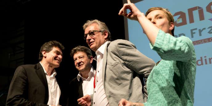 Pascal Durand (EELV), Jean-Luc Mélenchon (Parti de gauche), Pierre Laurent (Parti communiste) et Clémentine Autain (FASE) aux assises citoyennes, à Montreuil (Seine-Saint-Denis) le 16 juin.
