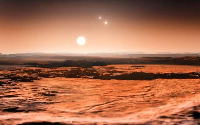 C'est autour de l'étoile Gliese 667C (vue d'artiste), d'une masse équivalente à un tiers de celle de notre Soleil, que l'équipe a fait cette trouvaille.