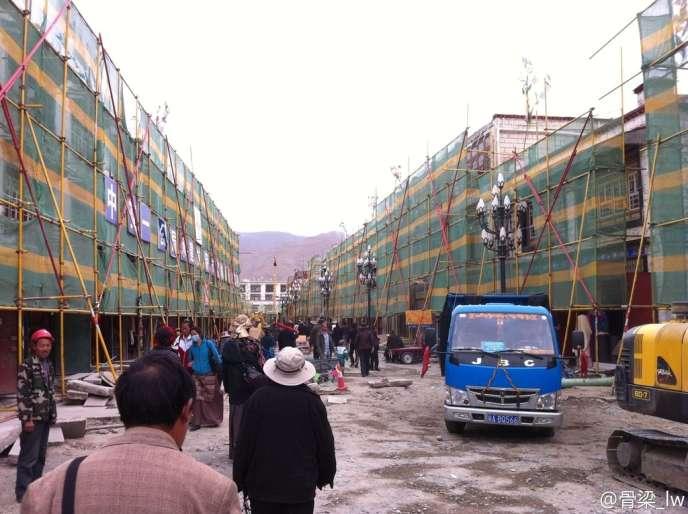 Photo de la rénovation du vieux centre de Lhassa publiée sur le blog de la dissidente tibétaine Woeser