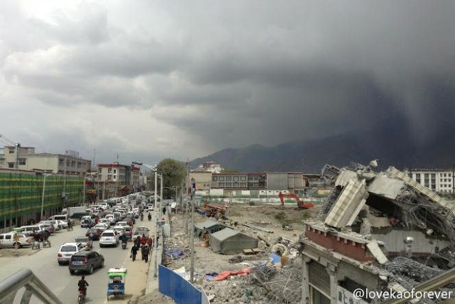 Photo de la rénovation du vieux Lhassa tirée des réseaux sociaux chinois.