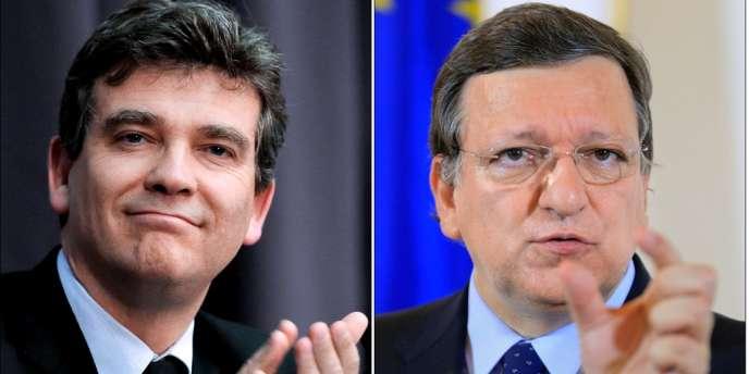 Arnaud Montebourg (à gauche) a accusé José Manuel Barroso d'être