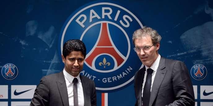 Nasser Al-Khelaïfi et Laurent Blanc, le 27 juin au Parc des Princes.
