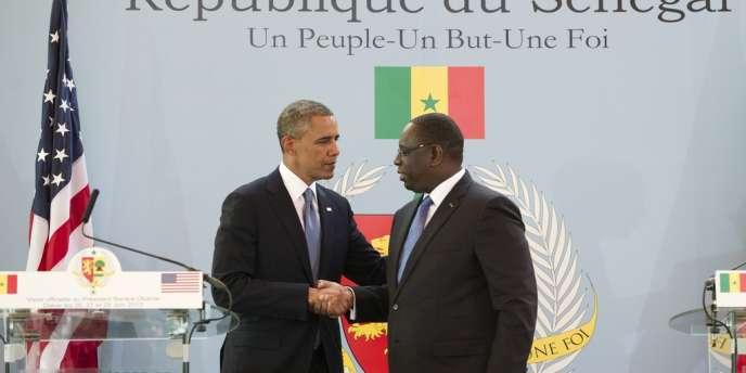 Le président américain, Barack Obama, et son homologue sénégalais, Macky Sall, lors de leur conférence de presse conjointe, jeudi 27 juin, à Dakar.