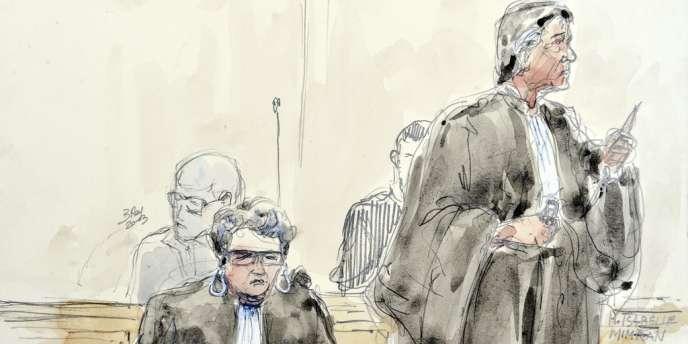 Un croquis des avocats de Matthieu M., Joëlle Diz et Isabelle Mimran, le 18 juin au Puy-en-Velay.