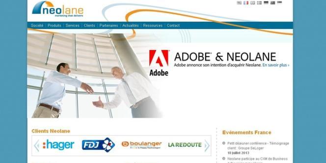 La page d'accueil du site web de Neolane.