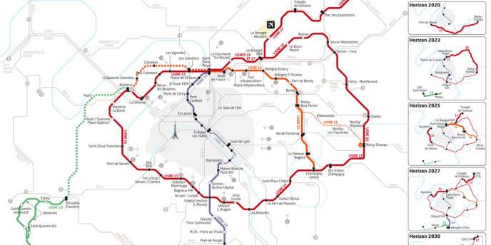 Carte du futur Grand Paris Express et les étapes de mise en service des tronçons.