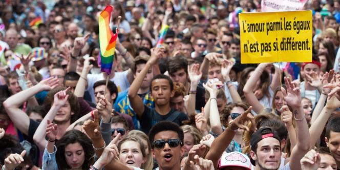 Des participants à la Marche des fiertés 2013 à Paris, le 29 juin.