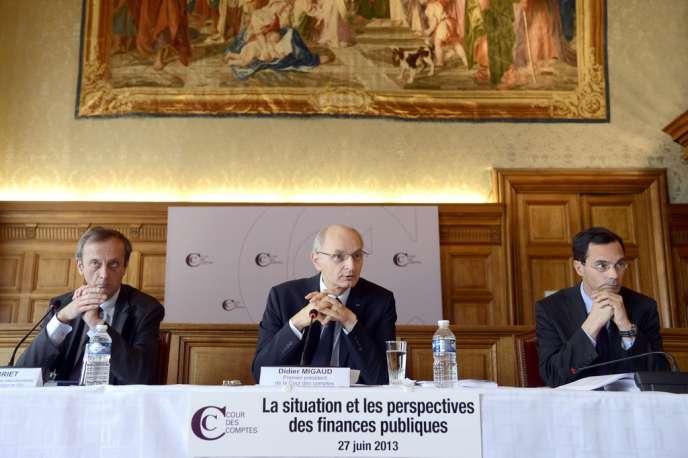 Didier Migaud, le président de la Cour des comptes, lors de la présentation du rapport sur la situation et les perspectives des finances publiques à Paris, le 27 juin 2013.