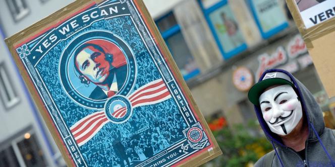 Manifestation pour dénoncer le programme américain Prism, le 29 juin à Hanovre (Allemagne).