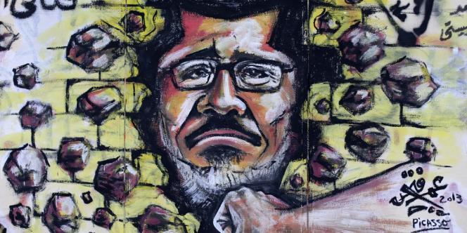 Un graffiti sur l'un des murs extérieurs du palais présidentiel au Caire.