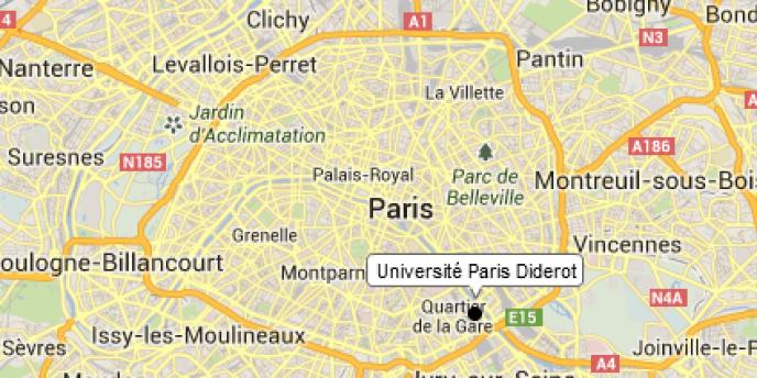 La localisation de l'université Paris-VII.