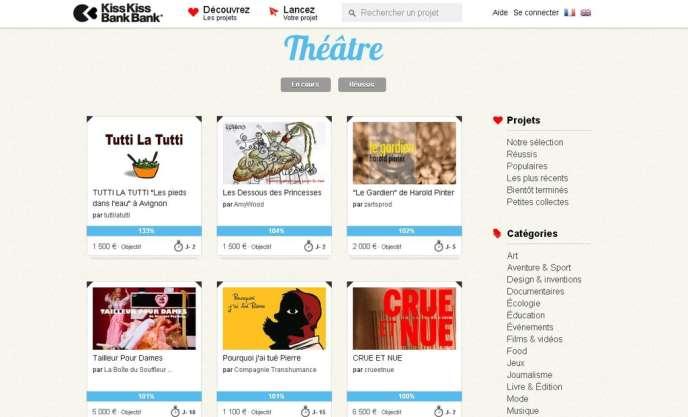 Page d'accueil de la rubrique Théâtre sur le site de