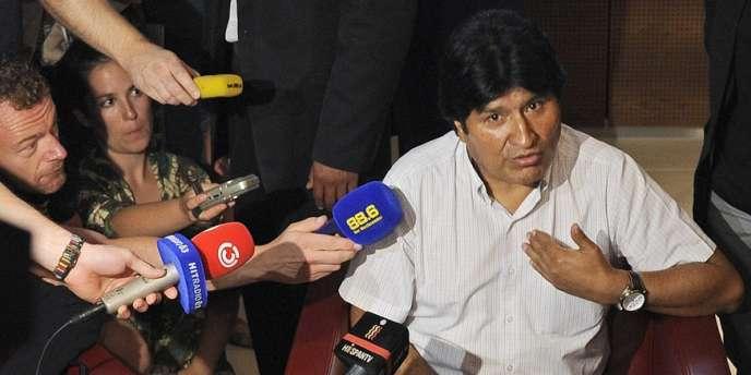 L'avion du président bolivien Evo Morales lors de son escale forcée en Autriche.
