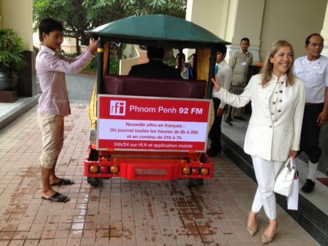 Marie-Christine Saragosse, PDG de France Médias Monde, le 20 juin à Phnom Penh, lors du lancement de RFI au Cambodge.