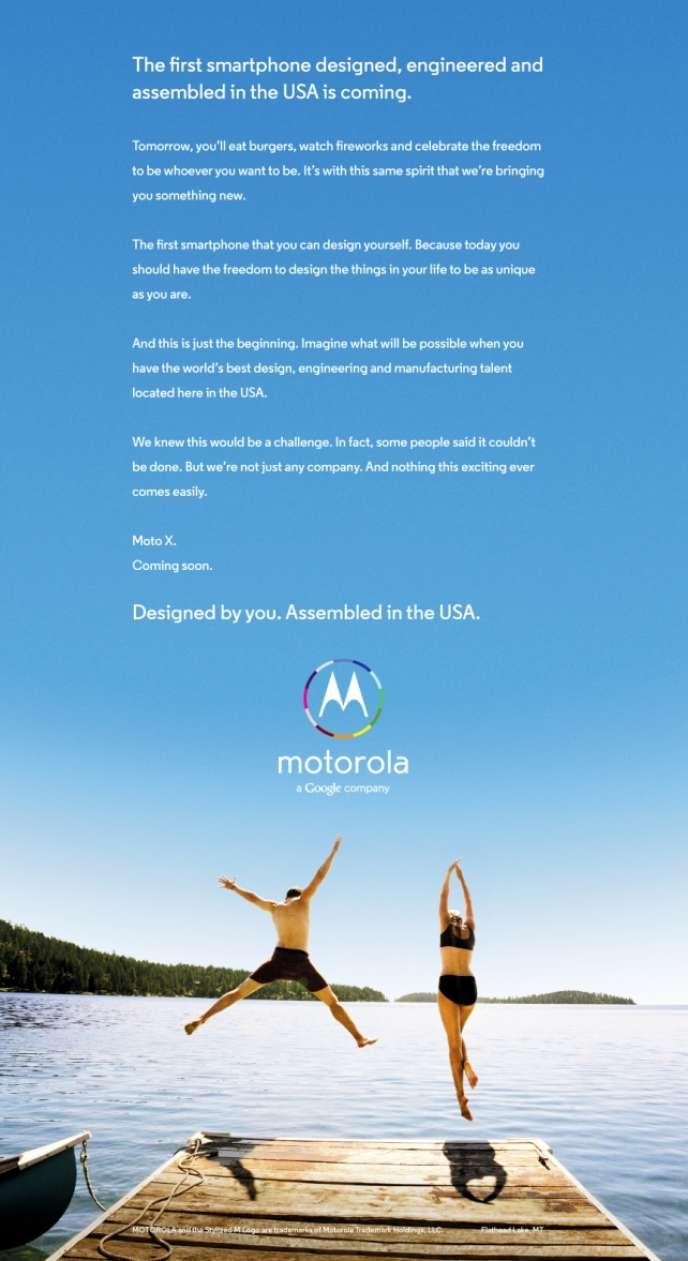 Publicité pour le prochain Moto X de Motorola publiée le 3 juillet 2013 dans la presse américaine.