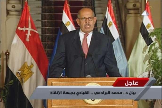 Mohamed ElBaradei s'exprimant à la télévision, le 3 juillet.