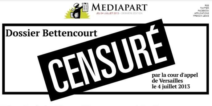 Après l'interdiction de publier les enregistrements pirates du majordome de Liliane Bettencourt, Mediapart avait réagi en barrant la