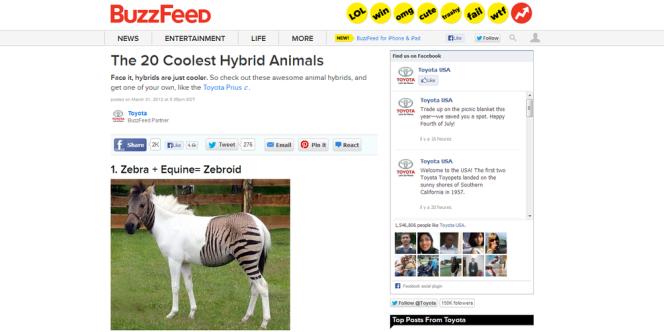 Article de brand content pour la Toyota Prius, sur le site d'information Buzzfeed