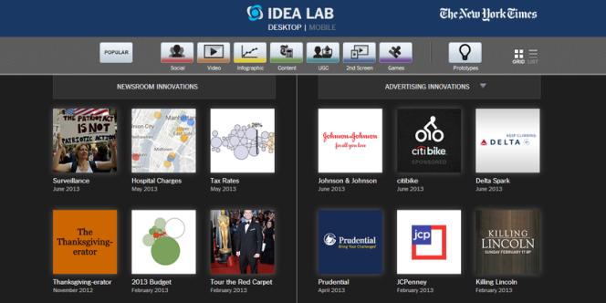 Page d'accueil de l'Idea Lab du New York Times : à gauche des innovations de la rédaction, à droite des innovations de publicité