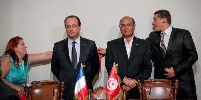 Voyage d'Etat du président François Hollande en Tunisie,  ici avec le président Moncef Marzouki au palais de Carthage, jeudi 4 juillet 2013.