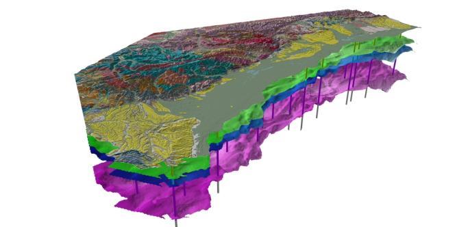 Coupe tridimensionnelle du sous-sol au nord-ouest de la plaine d'Alsace et du massif des Vosges