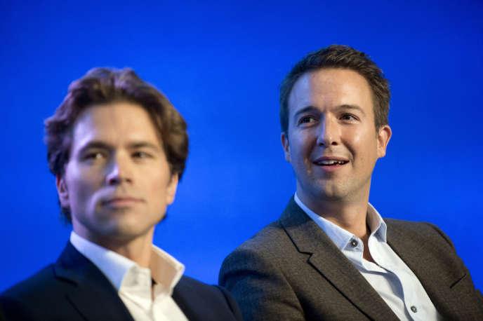 Geoffroy Didier et Guillaume Peltier (de gauche à droite), cofondateurs de la Droite forte enoctobre2012.