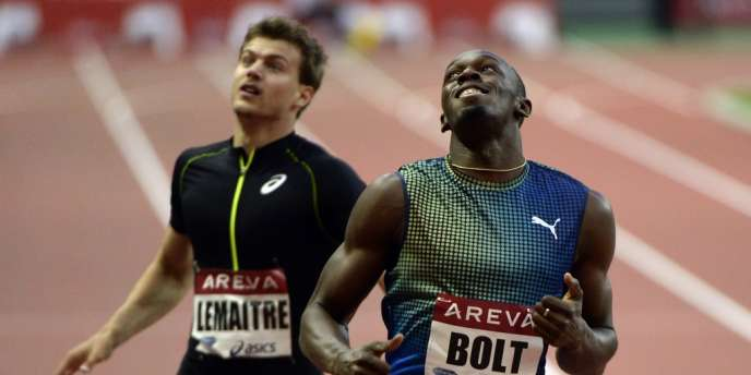 Usain Bolt et Christophe Lemaitre au meeting de Saint-Denis en 2013.