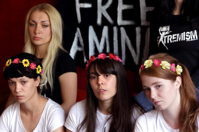 Inna Shevchenko et les trois militantes Femen, après leur libération de Tunisie, le 27 juin 2013.