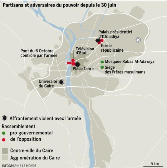 Partisans et adversaire du pouvoir depuis le 30 juin au Caire (Egypte)