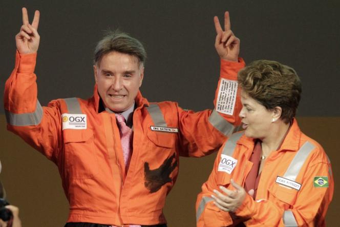La fortune d'Eike Batista (ici à côté de la présidente Dilma Rousseff), estimée à 34,5 milliards de dollars en mars 2012, ne s'élève plus qu'à 4,8 milliards aujourd'hui.