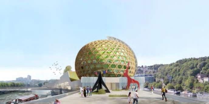 Image virtuelle de l'arrière du projet de Cité musicale, sur l'île Seguin, dans les Hauts-de-Seine.