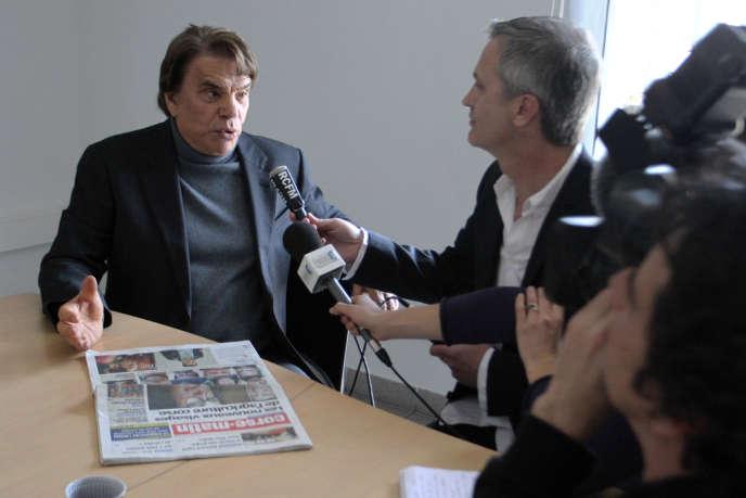 Bernard Tapie, à l'imprimerie de l'édition corse de Nice-Matin, à Bastia, le 13 mars 2013.