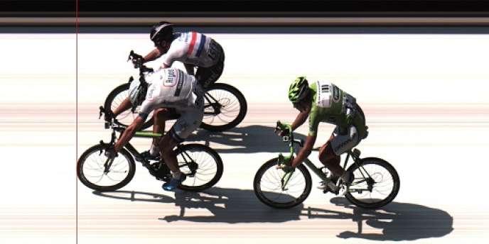 La photo finish du sprint de la douzième étape, remportée par l'Allemand Marcel Kittel, le 11 juillet à Tours.