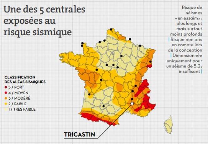 Carte du risque sismique en France, par Greenpeace.