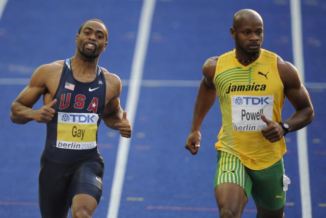 Contrôlés positifs Tyson Gay et Asafa Powell, ici lors des Mondiaux de Berlin en 2009, ne sont pas présent aux Mondiaux de Moscou