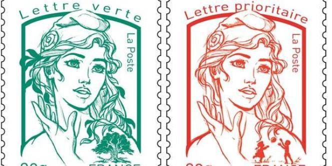 Le nouveau visage de Marianne sur les timbres d'usage courant, introduit en juillet.