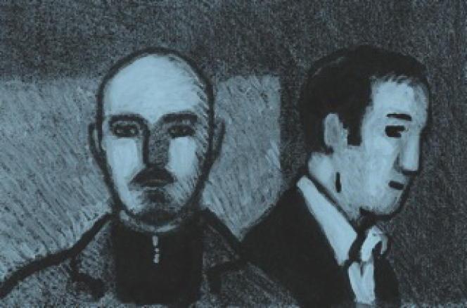 Marin Ledun et Götting, vus par Jean-Christophe Chauzy.   Le Monde