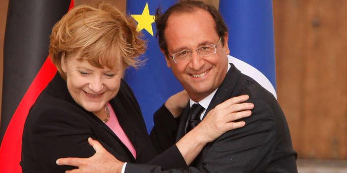 François Hollandeet Angela Merkel le 8 juin 2012 à Reims.